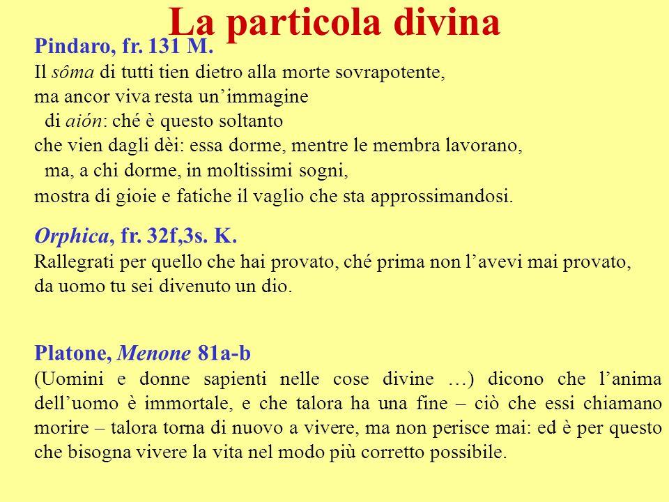 La particola divina Pindaro, fr. 131 M. Orphica, fr. 32f,3s. K.