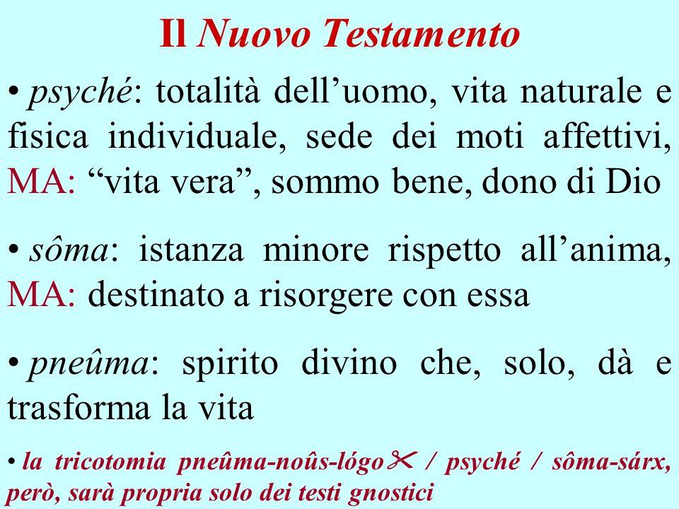 Il Nuovo Testamento psyché: totalità dell'uomo, vita naturale e fisica individuale, sede dei moti affettivi, MA: vita vera , sommo bene, dono di Dio.