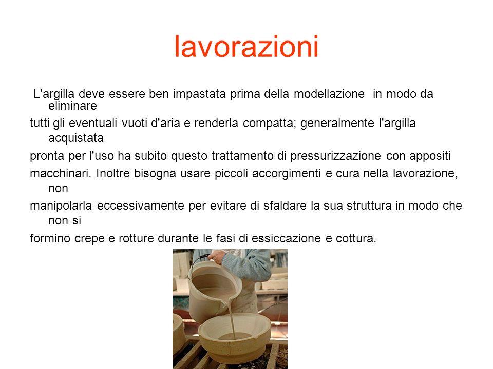 lavorazioniL argilla deve essere ben impastata prima della modellazione in modo da eliminare.