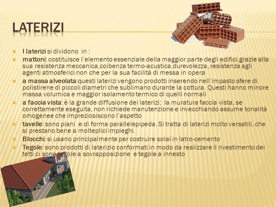 Laterizi I laterizi si dividono in :