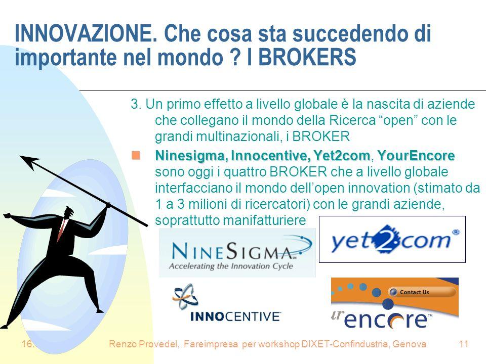 Renzo Provedel, Fareimpresa per workshop DIXET-Confindustria, Genova