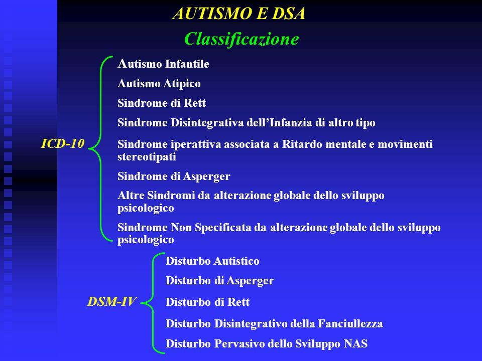 Classificazione AUTISMO E DSA Autismo Infantile