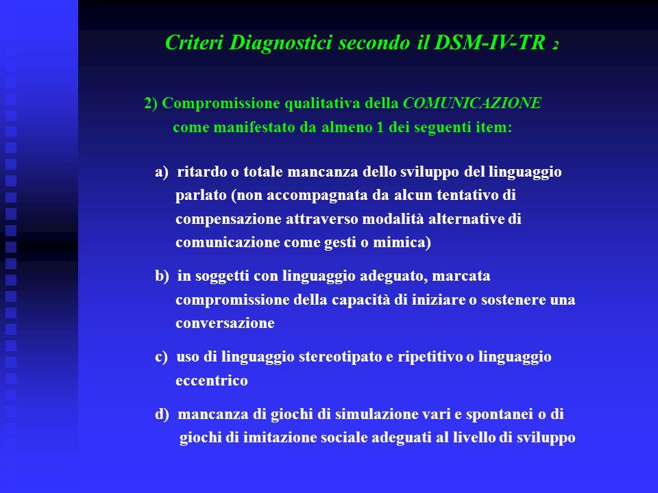 Criteri Diagnostici secondo il DSM-IV-TR 2