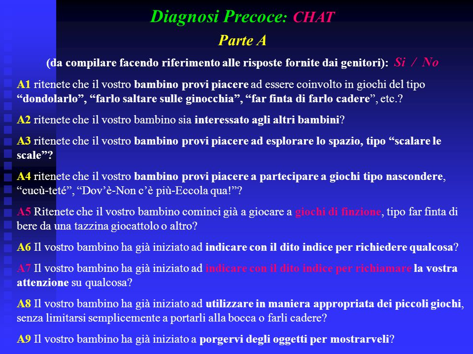 Diagnosi Precoce: CHAT