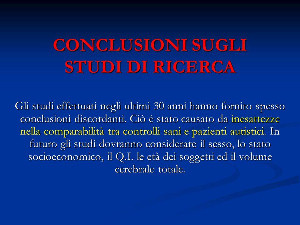 CONCLUSIONI SUGLI STUDI DI RICERCA