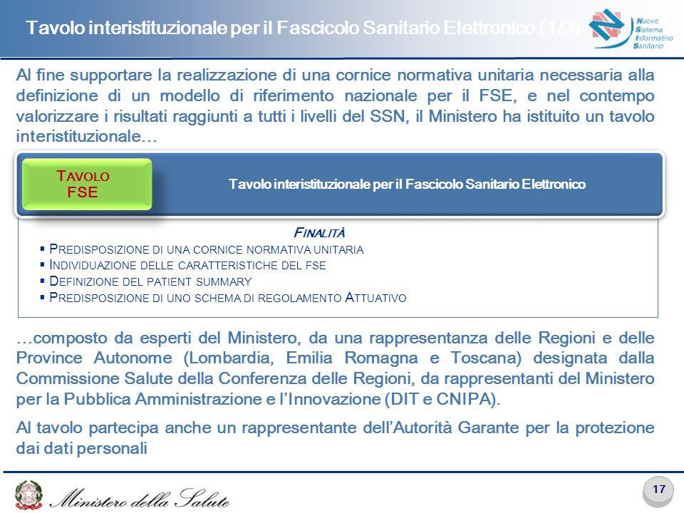 Tavolo interistituzionale per il Fascicolo Sanitario Elettronico (2/3)