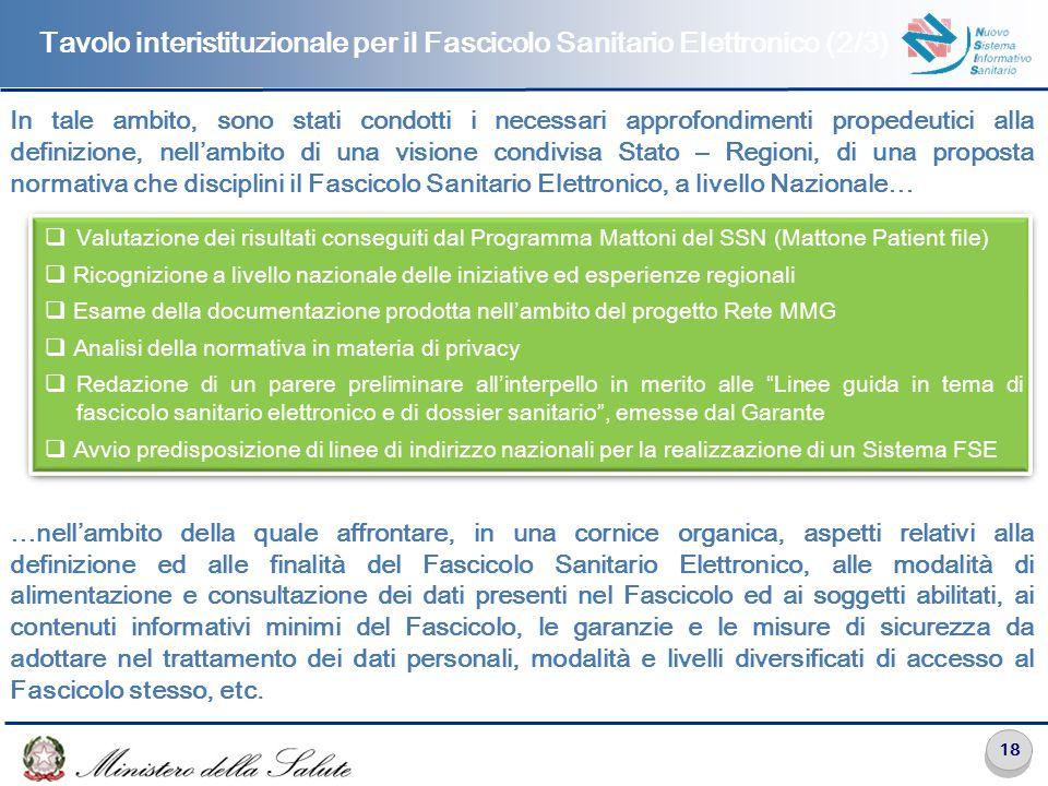 Tavolo interistituzionale per il Fascicolo Sanitario Elettronico (3/3)