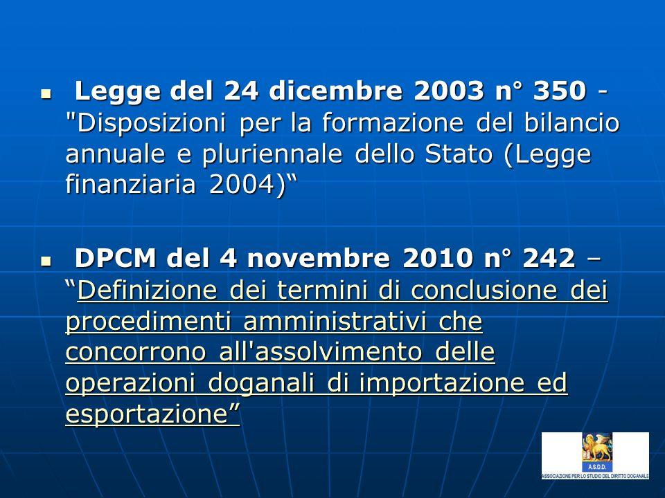 Legge del 24 dicembre 2003 n° 350 - Disposizioni per la formazione del bilancio annuale e pluriennale dello Stato (Legge finanziaria 2004)