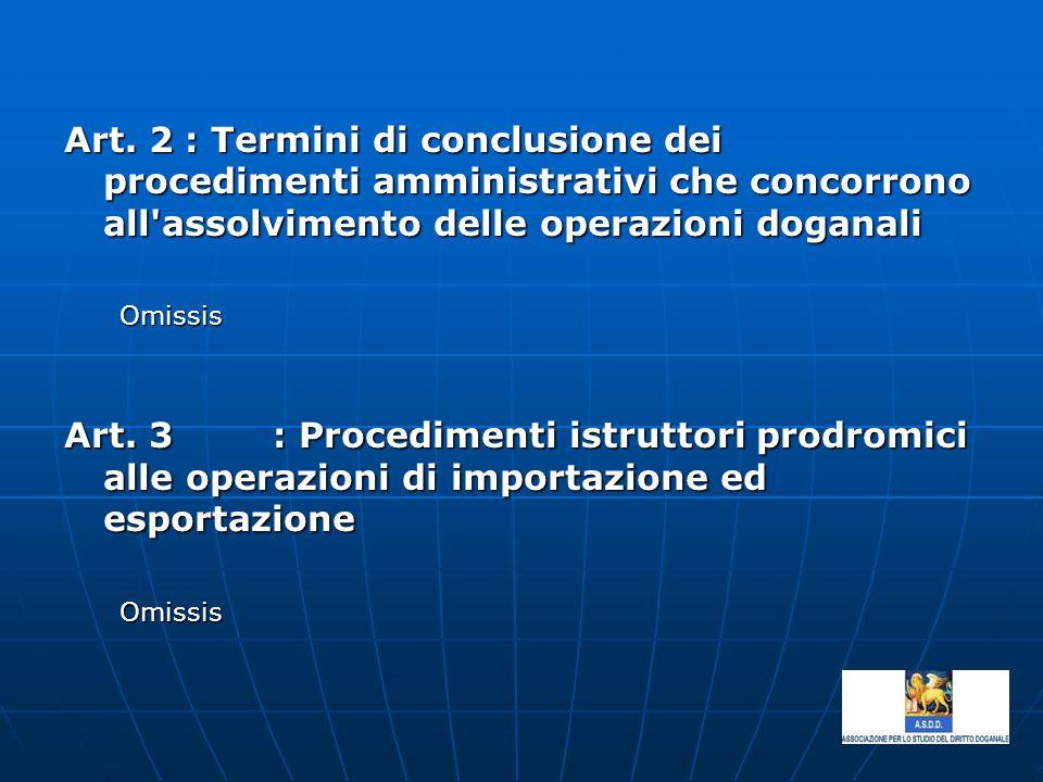 Art. 2 : Termini di conclusione dei procedimenti amministrativi che concorrono all assolvimento delle operazioni doganali