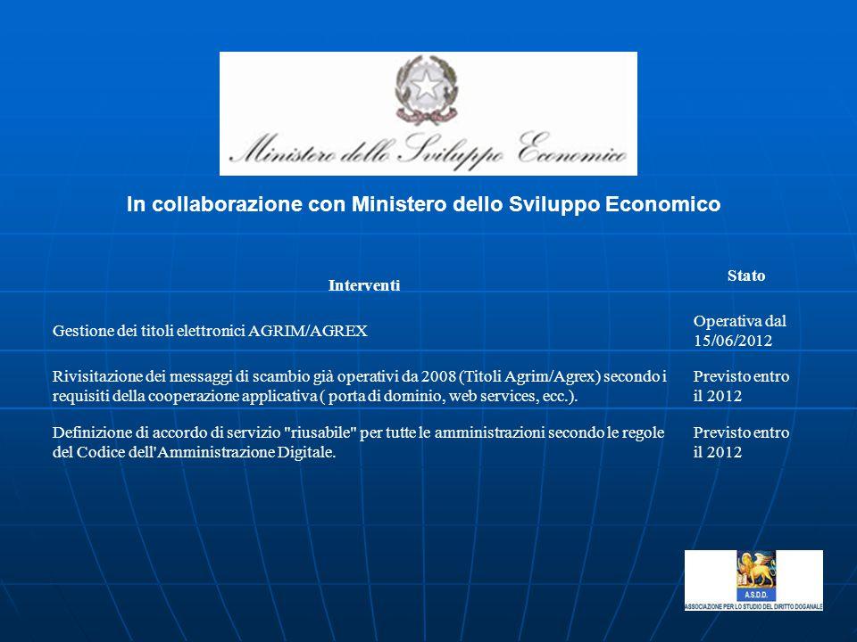 In collaborazione con Ministero dello Sviluppo Economico