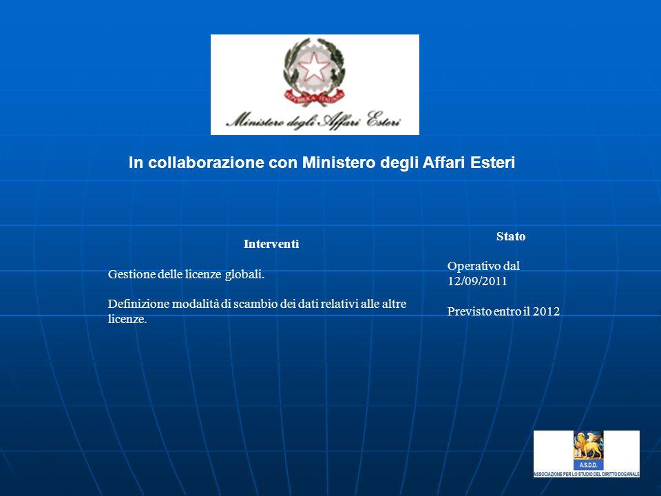 In collaborazione con Ministero degli Affari Esteri
