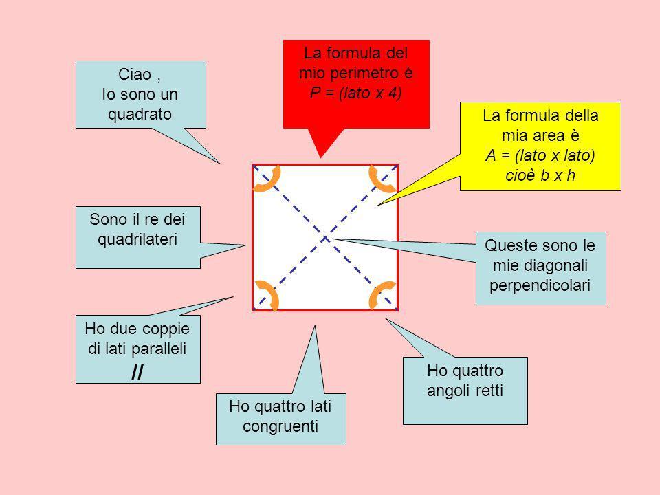 La formula del mio perimetro è P = (lato x 4) Ciao ,