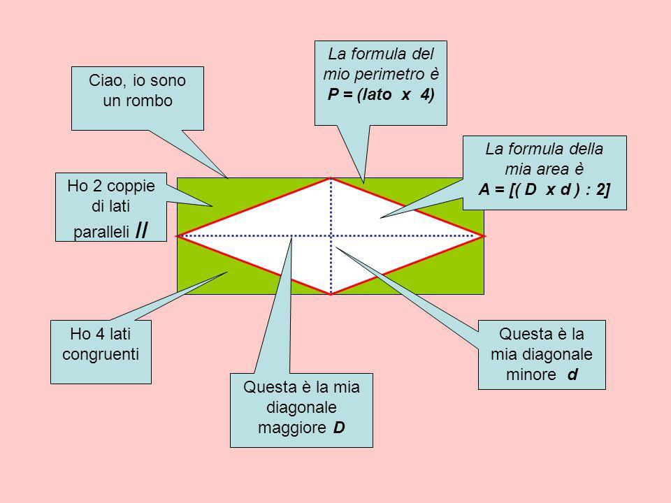La formula del mio perimetro è P = (lato x 4) Ciao, io sono un rombo