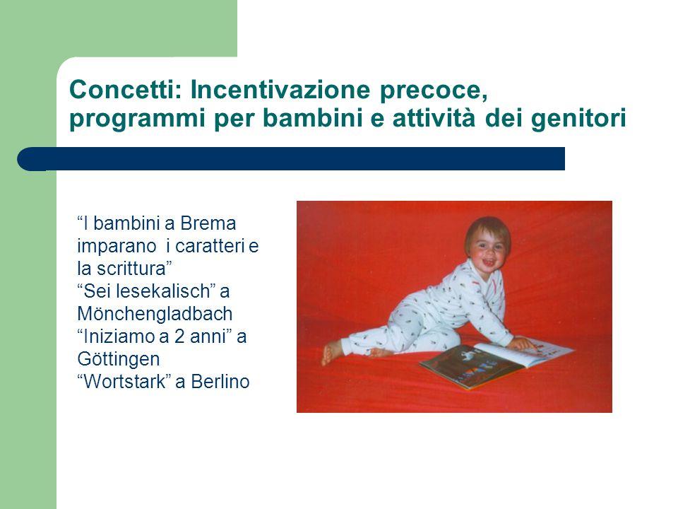 Concetti: Incentivazione precoce, programmi per bambini e attività dei genitori