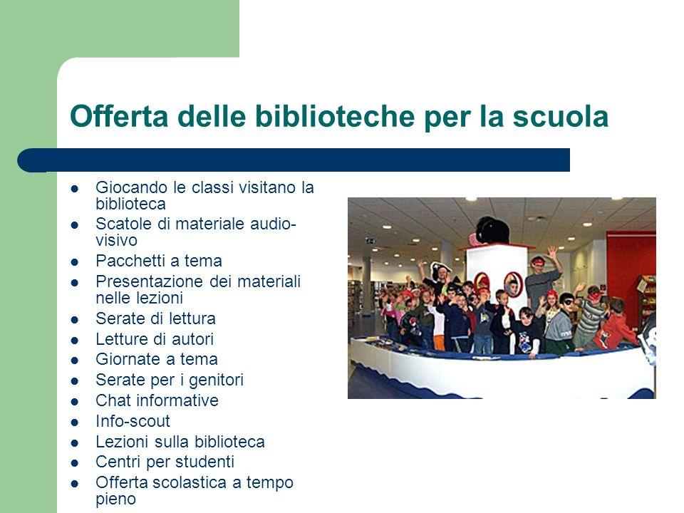 Offerta delle biblioteche per la scuola