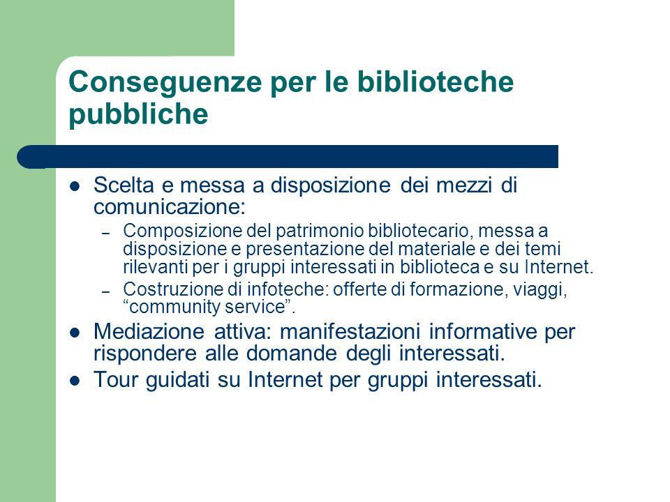 Conseguenze per le biblioteche pubbliche