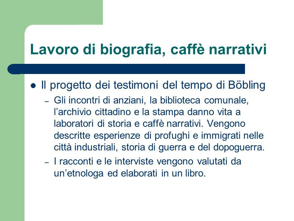 Lavoro di biografia, caffè narrativi