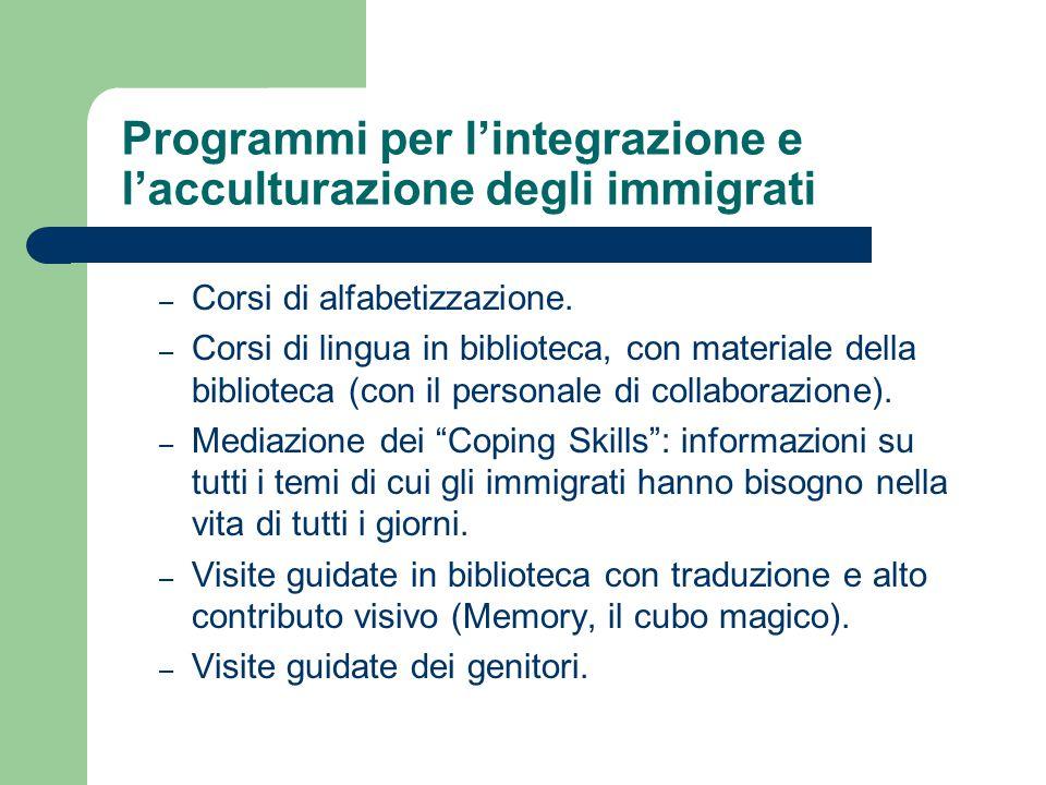 Programmi per l'integrazione e l'acculturazione degli immigrati