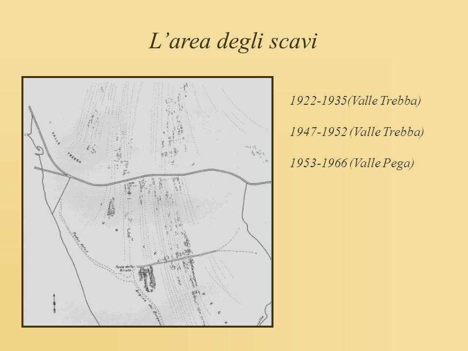 L'area degli scavi 1922-1935(Valle Trebba) 1947-1952 (Valle Trebba)