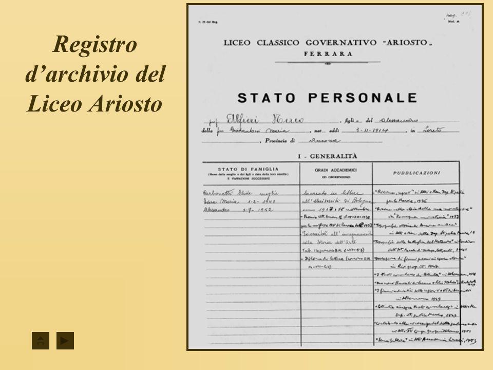 Registro d'archivio del Liceo Ariosto