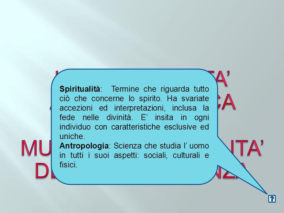 LA SPIRITUALITA' ANTROPOLOGICA E LA MULTIDIMENSIONALITA'