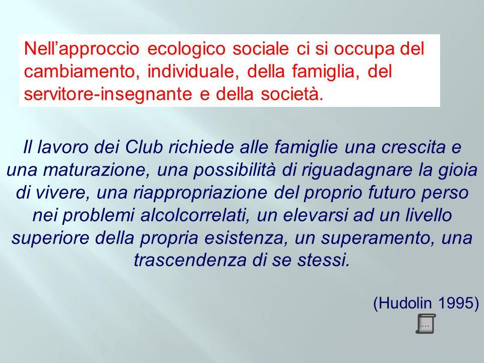 Nell'approccio ecologico sociale ci si occupa del cambiamento, individuale, della famiglia, del servitore-insegnante e della società.