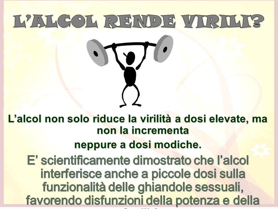 L'ALCOL RENDE VIRILI L'alcol non solo riduce la virilità a dosi elevate, ma non la incrementa. neppure a dosi modiche.