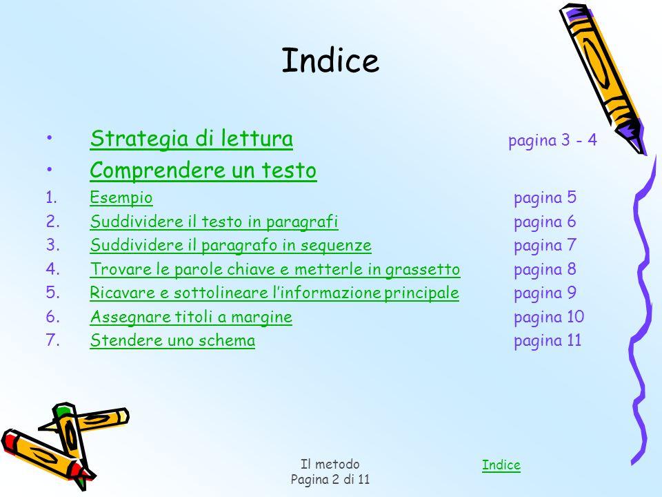 Indice Strategia di lettura pagina 3 - 4 Comprendere un testo