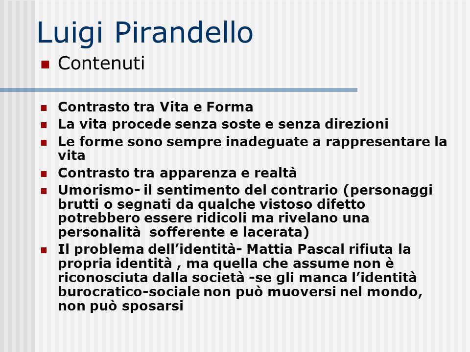 Luigi Pirandello Contenuti Contrasto tra Vita e Forma