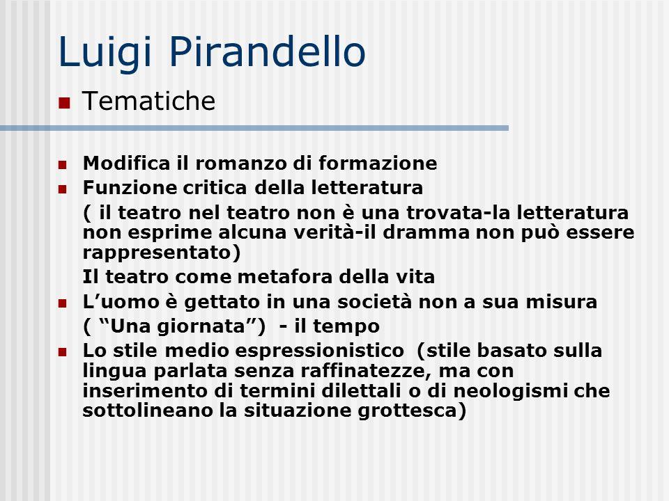 Luigi Pirandello Tematiche Modifica il romanzo di formazione