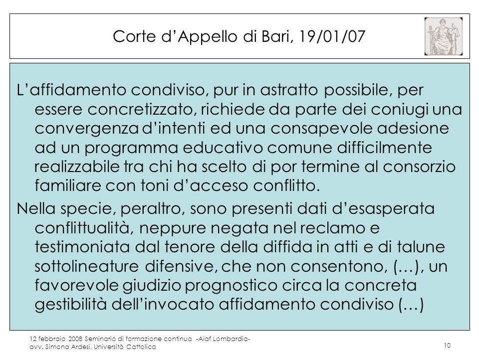 Corte d'Appello di Bari, 19/01/07