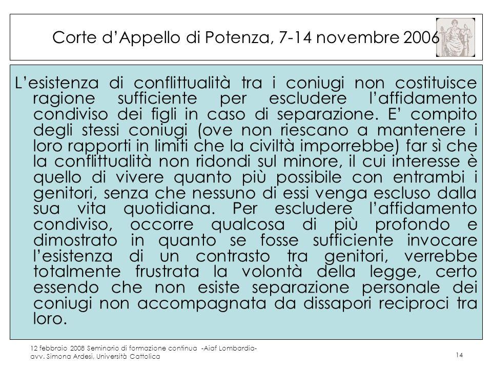 Corte d'Appello di Potenza, 7-14 novembre 2006