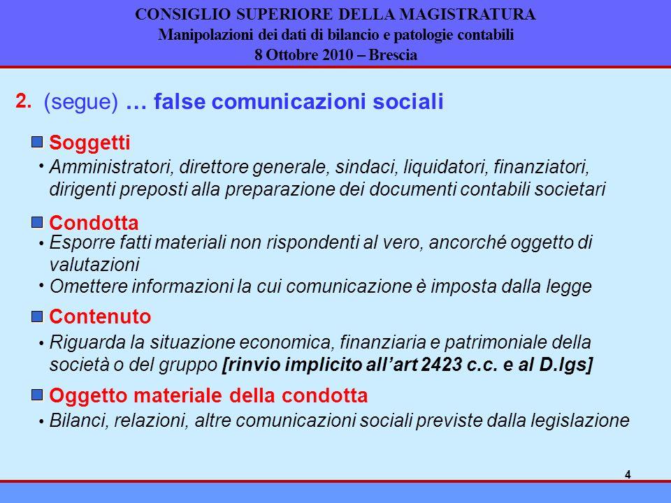 (segue) … false comunicazioni sociali