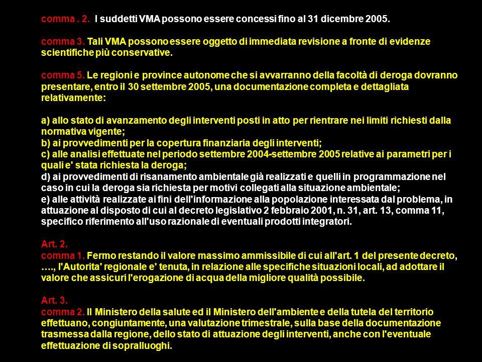 comma . 2. I suddetti VMA possono essere concessi fino al 31 dicembre 2005.