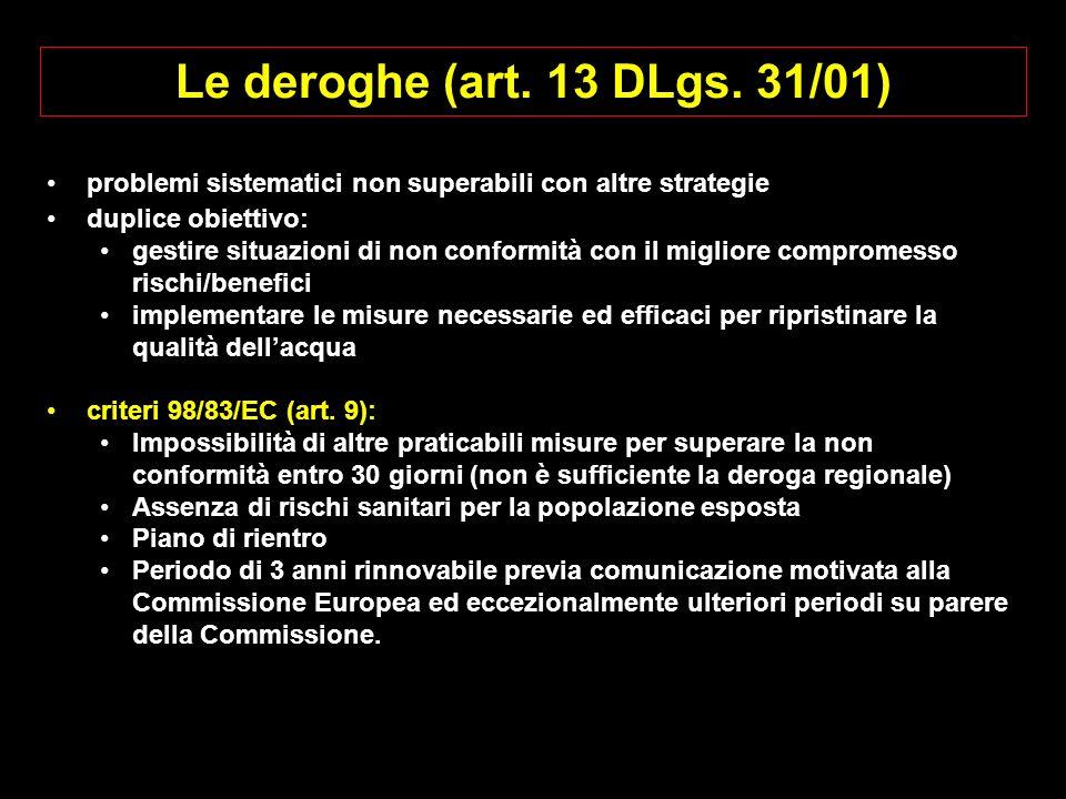 Le deroghe (art. 13 DLgs. 31/01) problemi sistematici non superabili con altre strategie. duplice obiettivo: