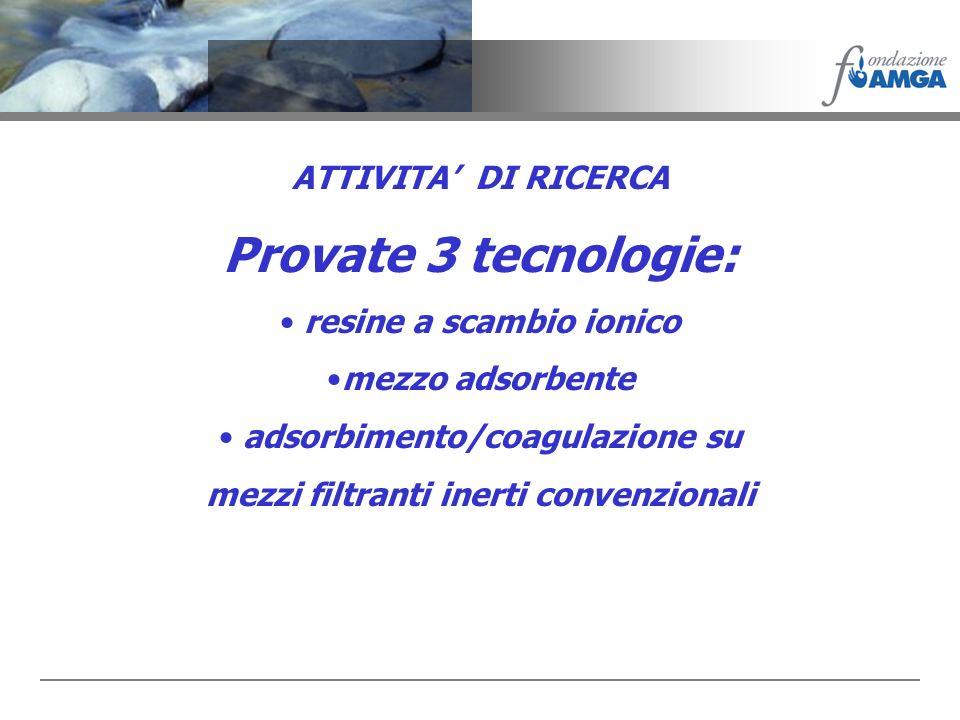 Provate 3 tecnologie: ATTIVITA' DI RICERCA resine a scambio ionico