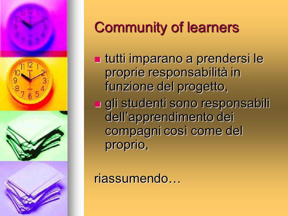 Community of learners tutti imparano a prendersi le proprie responsabilità in funzione del progetto,