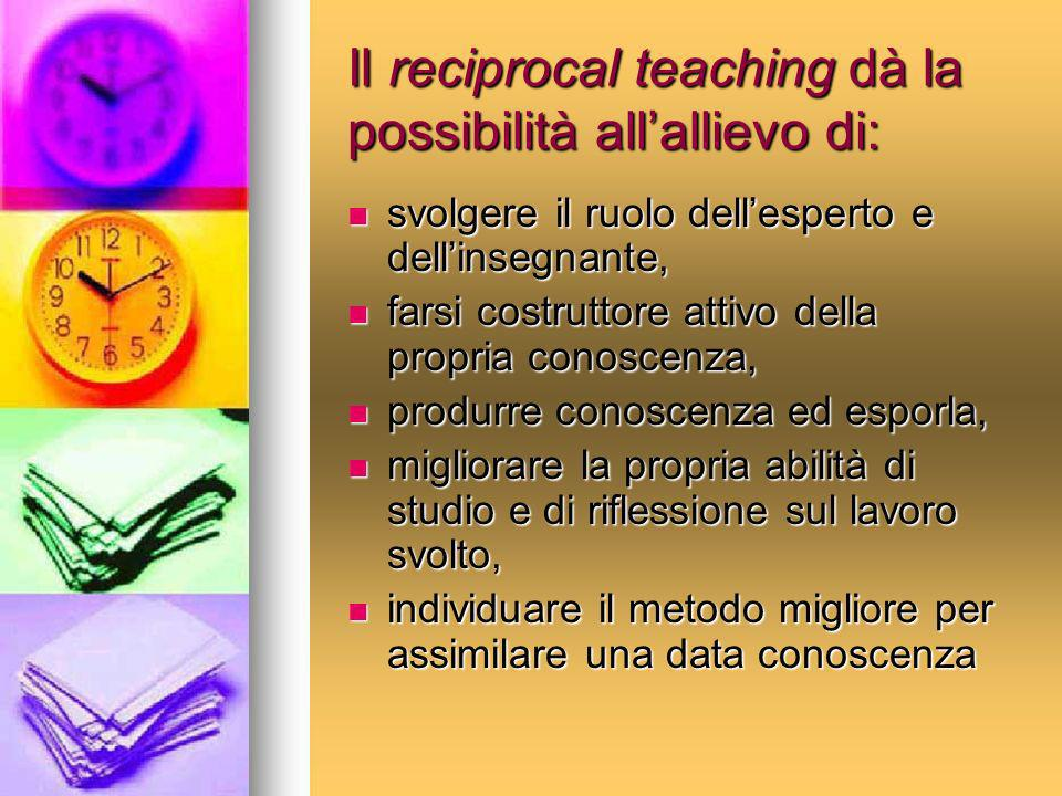 Il reciprocal teaching dà la possibilità all'allievo di: