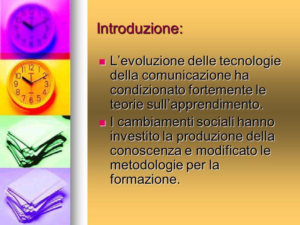 Introduzione: L'evoluzione delle tecnologie della comunicazione ha condizionato fortemente le teorie sull'apprendimento.