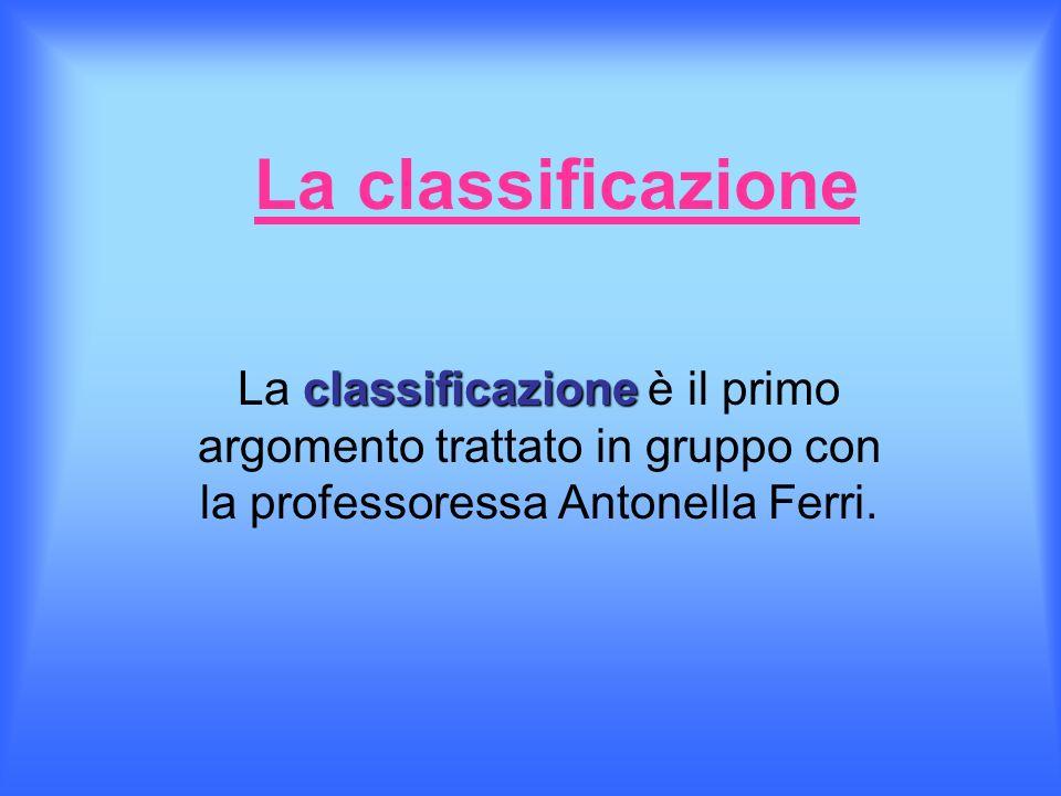 La classificazione La classificazione è il primo argomento trattato in gruppo con la professoressa Antonella Ferri.