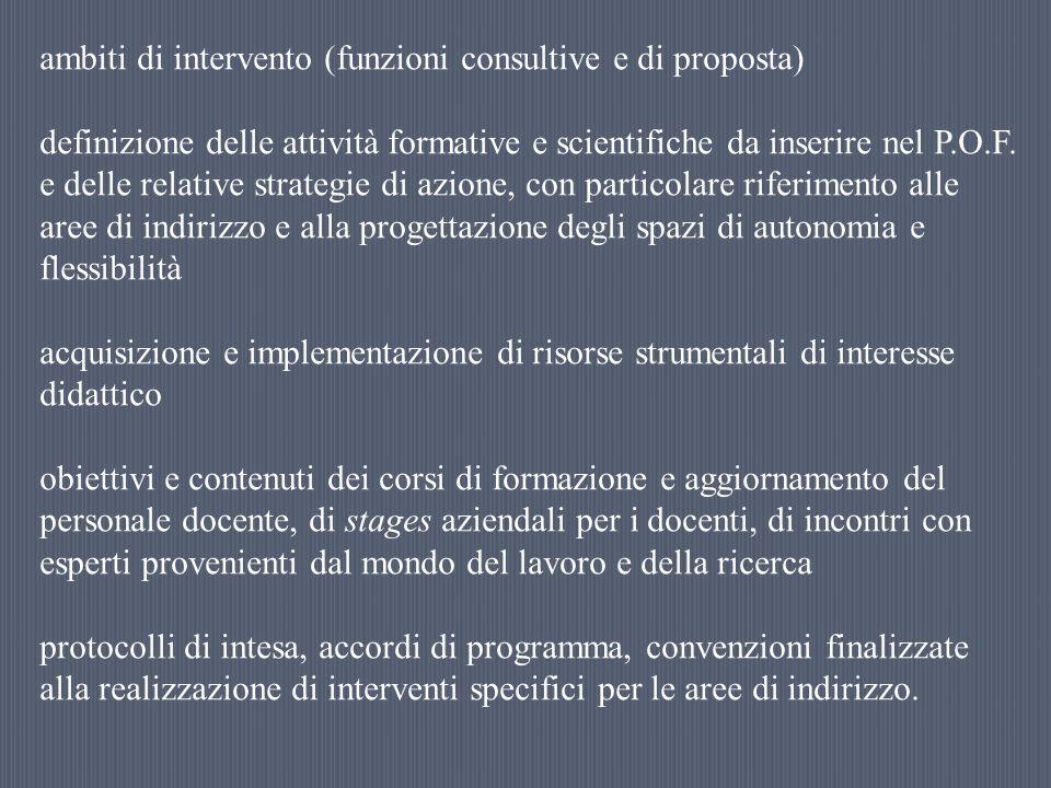 ambiti di intervento (funzioni consultive e di proposta)