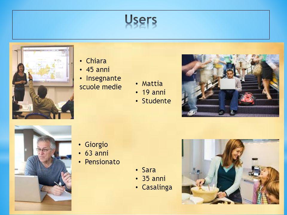 Users Chiara 45 anni Insegnante scuole medie Mattia 19 anni Studente