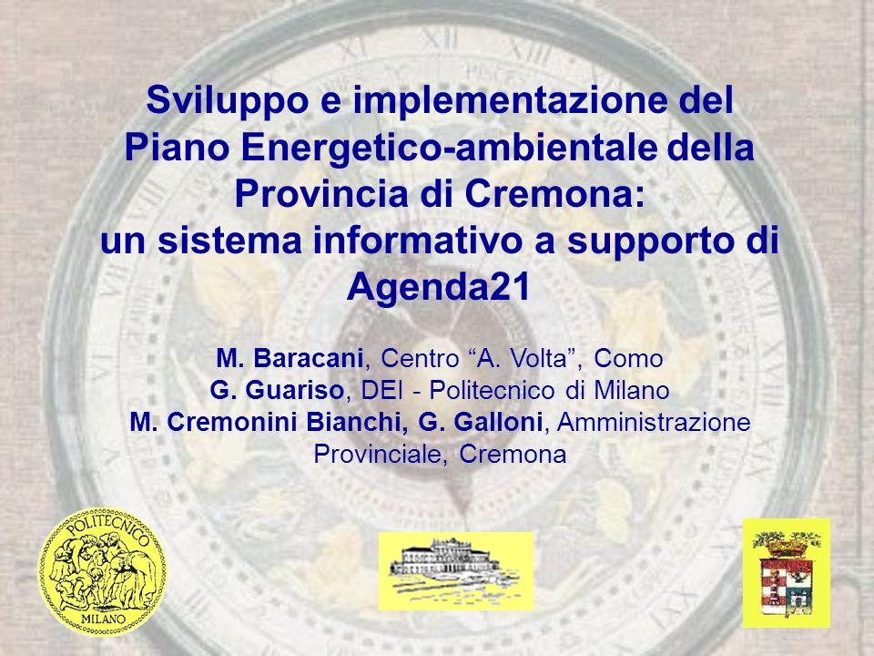 Sviluppo e implementazione del Piano Energetico-ambientale della Provincia di Cremona: un sistema informativo a supporto di Agenda21 M.