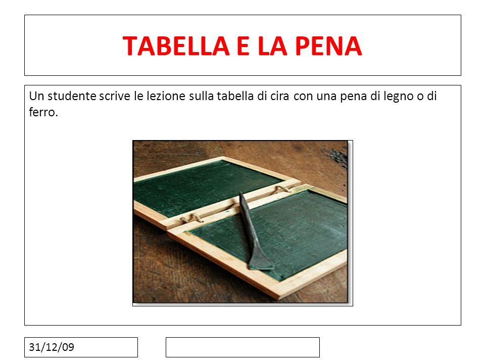 10101010 TABELLA E LA PENA. Un studente scrive le lezione sulla tabella di cira con una pena di legno o di ferro.