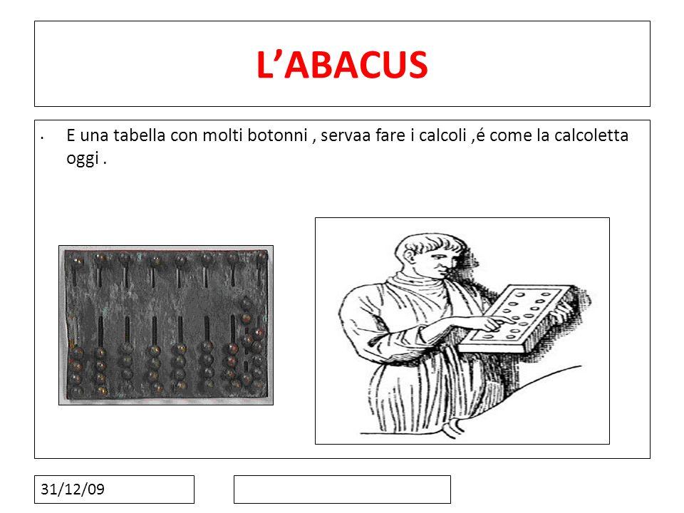 13131313 L'ABACUS. E una tabella con molti botonni , servaa fare i calcoli ,é come la calcoletta oggi .