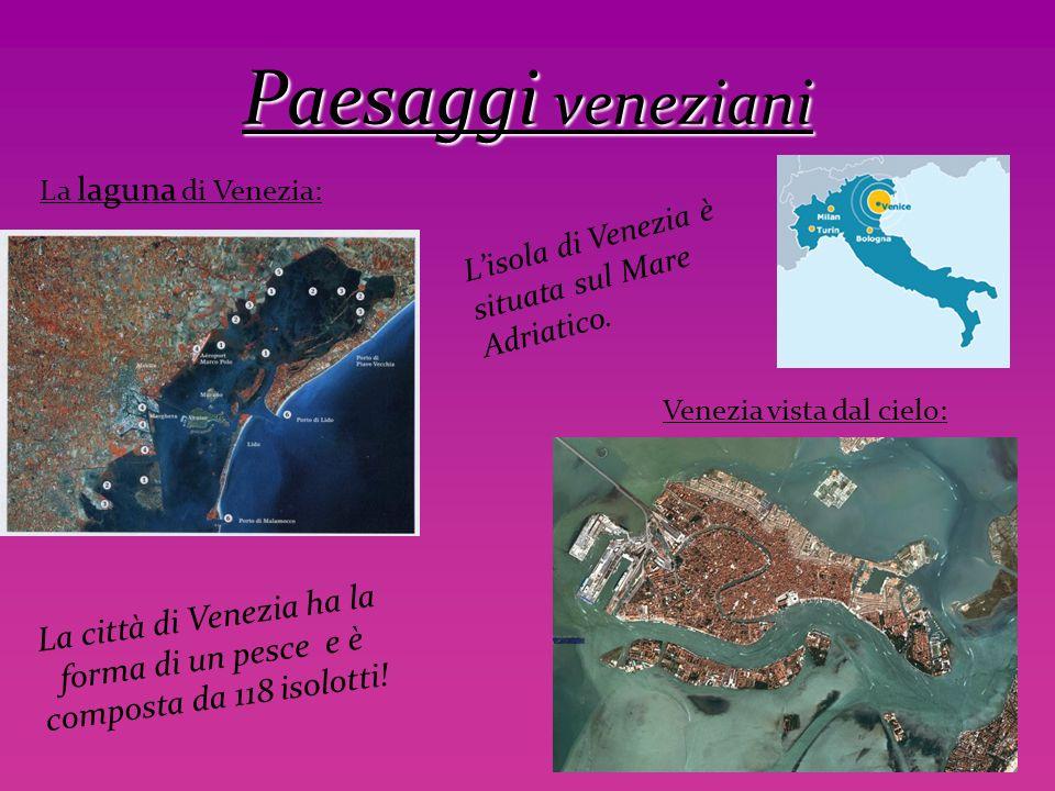 Paesaggi veneziani La laguna di Venezia: L'isola di Venezia è situata sul Mare Adriatico. Venezia vista dal cielo: