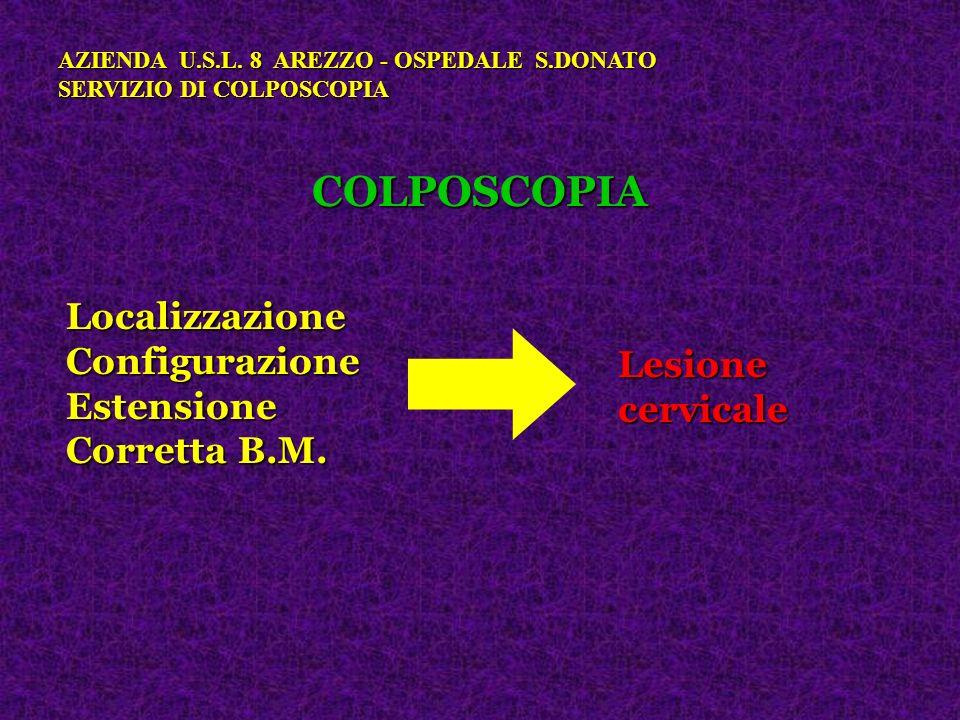 COLPOSCOPIA Localizzazione Configurazione Estensione Lesione