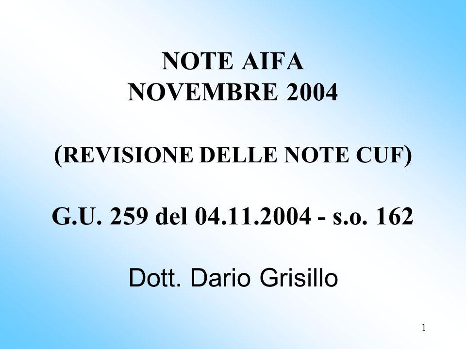 NOTE AIFA NOVEMBRE 2004 (REVISIONE DELLE NOTE CUF) G.U.