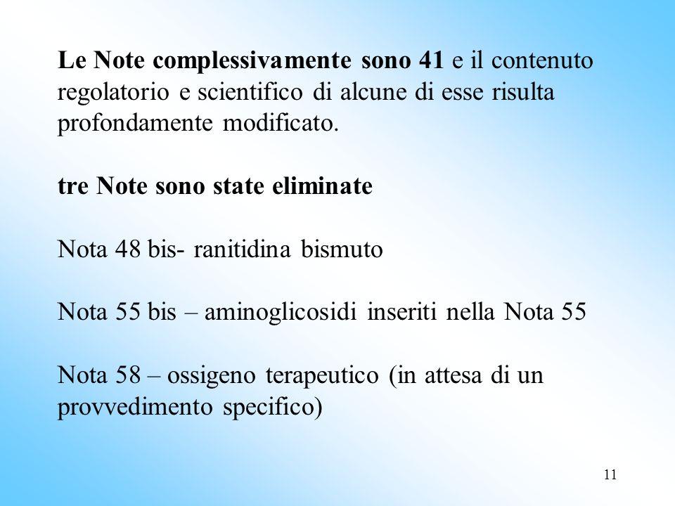 Le Note complessivamente sono 41 e il contenuto regolatorio e scientifico di alcune di esse risulta profondamente modificato.