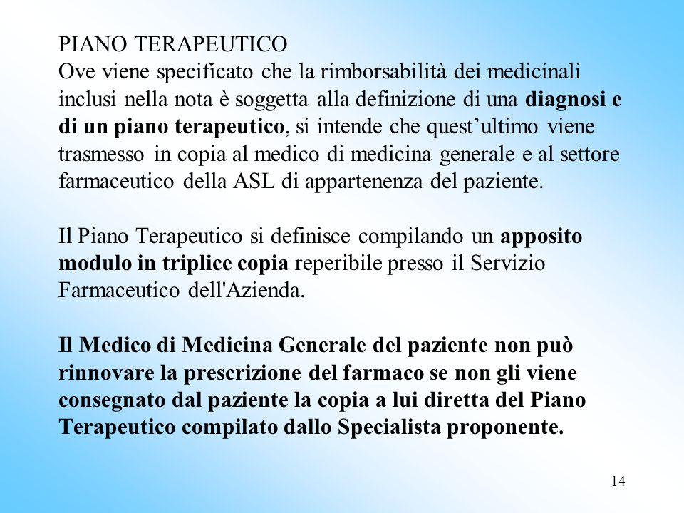 PIANO TERAPEUTICO Ove viene specificato che la rimborsabilità dei medicinali inclusi nella nota è soggetta alla definizione di una diagnosi e di un piano terapeutico, si intende che quest'ultimo viene trasmesso in copia al medico di medicina generale e al settore farmaceutico della ASL di appartenenza del paziente.